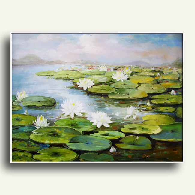 Impression lotus oil painting thick oil can be customized to print Chinese painting on canvas Cheap wholesale hot sale