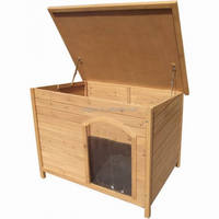 outdoor wooden dog house with opening roof