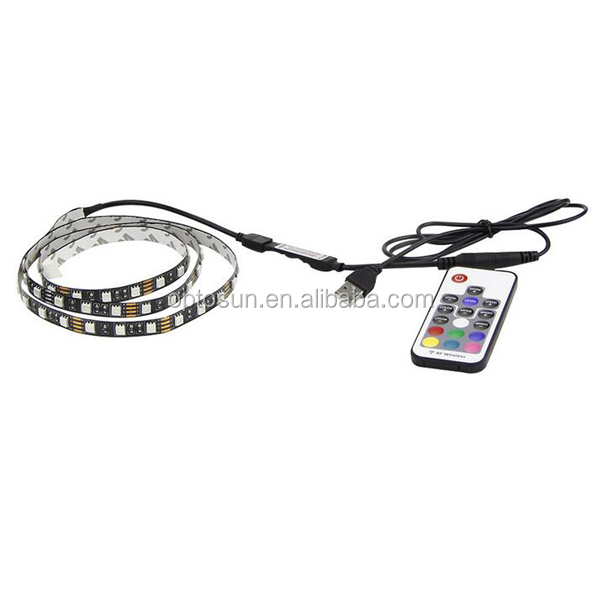 5v Usb Led Strip 5050 Rgb Flexible Light 1m 2m Ip65 Waterproof Tv Background Lighting Strip With 10key Rf Rgb Remote Controller