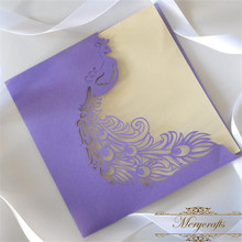 Romantic purple color laser cut peacock wedding invitation