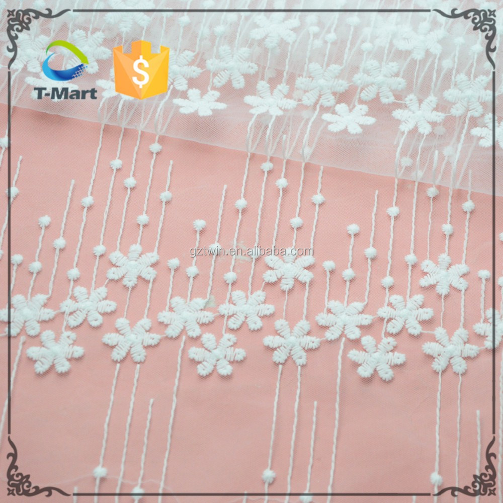 White cotton tulle embroidered fabric embroidered lace for sale