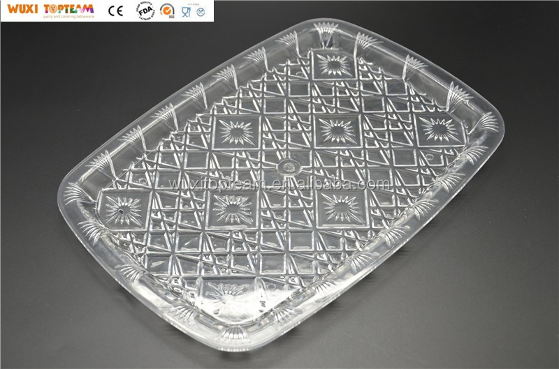 "22""x16.5"" Clear Reusable Plastic Party Plate"