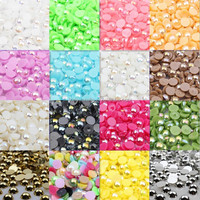 5mm Half Round ABS plastic imitation pearl beads without hole wholesale