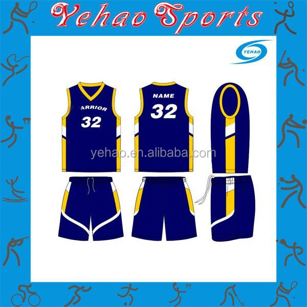 blue and orange sublimated custom basketball uniform for team players