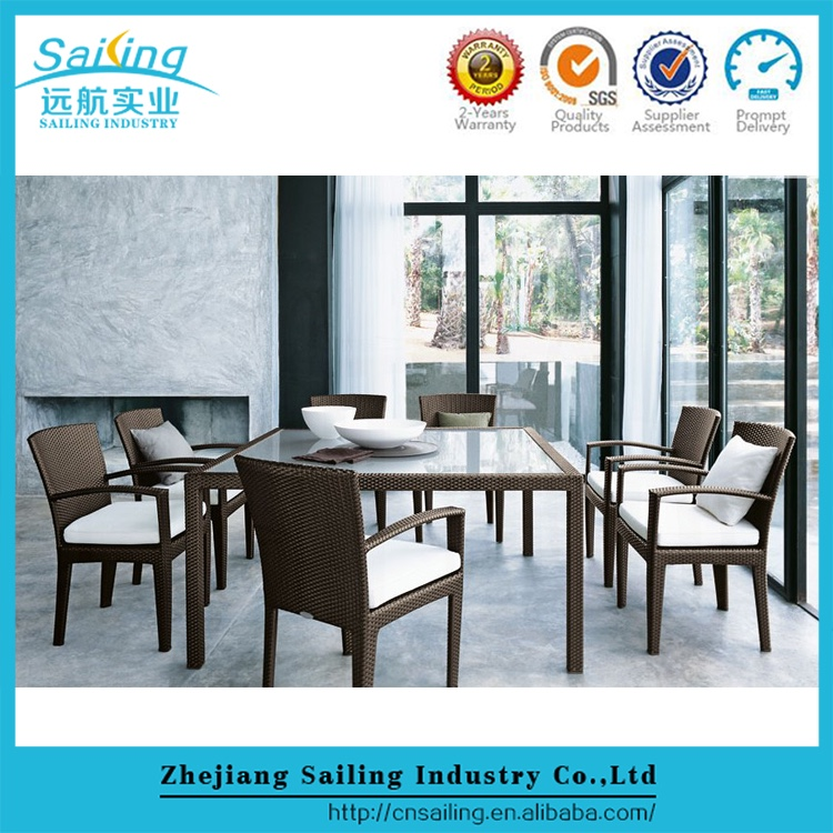 New Product 7 Piece Outdoor Dining Rattan Furniture Table Chairs Set