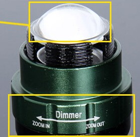 Dimmer Adjustable Zoomable Rechargeable T6 LED Light water resistant camp hike cycling torch Clip Tactical Flashlight