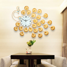 High quality 3D decorative metal peacock wall clock for whole sale