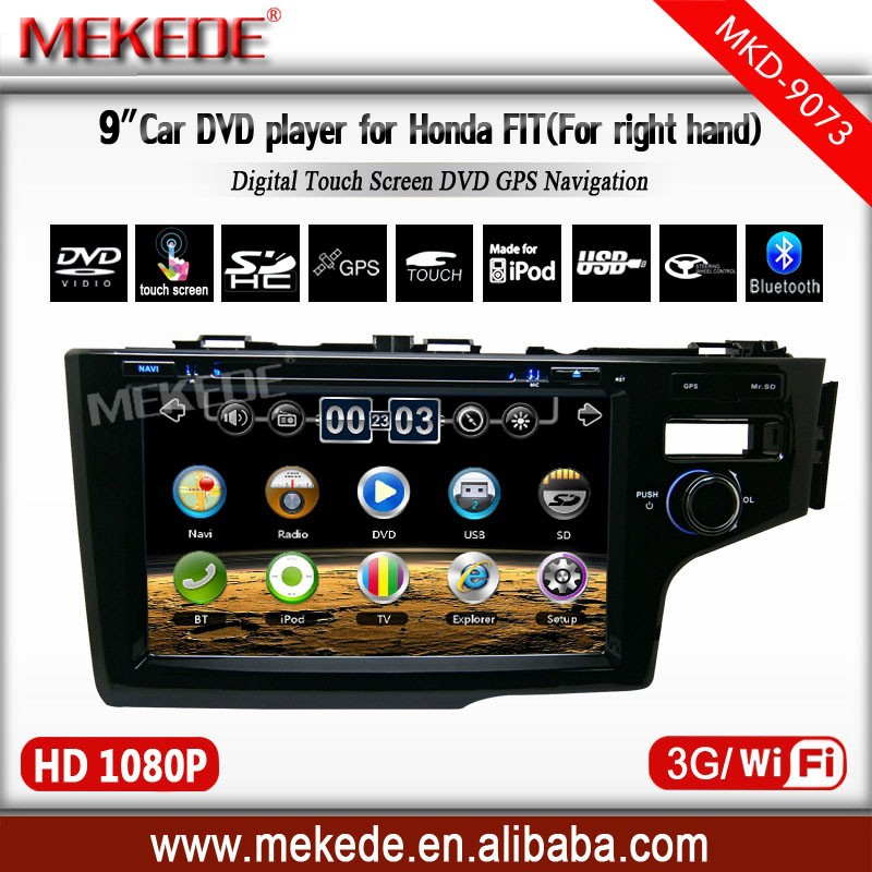 Autoradio Car DVD Player for Honda Jazz Fit right with GPS Navigation Russian Menu Free 4GB Map Card 9'' HD touch screen