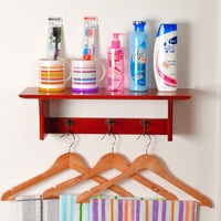 Newly Special Wood Material Firm Trustworthy Wall Shelf For Toiletries Condiment And Towel Rack