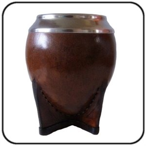 Hand Made Yerba Mate Gourd, Leather Covered with Metal Rim