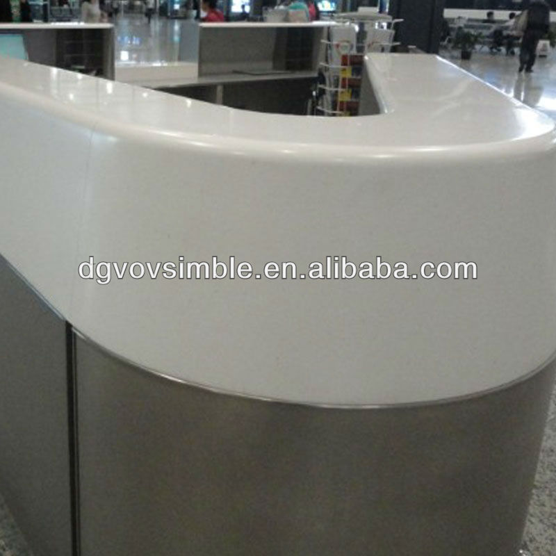 Long Narrow Commercial Solid Surface Service Counter Top /Composite Acrylic Bar Top