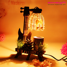 Latest Guitar Design Rattan Wicker Wooden Table Lamp With Storage Box