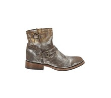 000049 glitter suede flat Italy antique style short ankle boots unisex