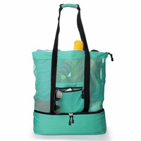 Outdoor Travel Mesh Beach Bag with Cooler for Picnic Drinking (Green)