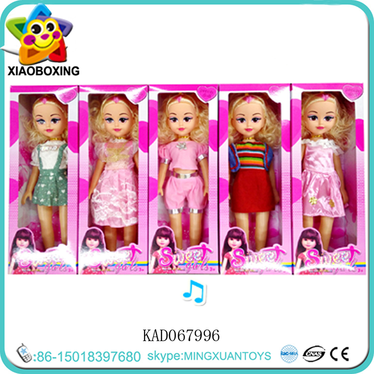 18 inch 5 Mixed Sweet Girl Dolls Wedding Dress Fashion Dolls With Music