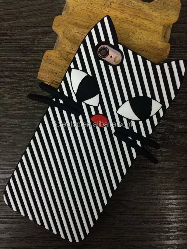 Wholesale price stripe cat soft cute silicon case cover for iphone 5/6/6plus/7/7plus phone