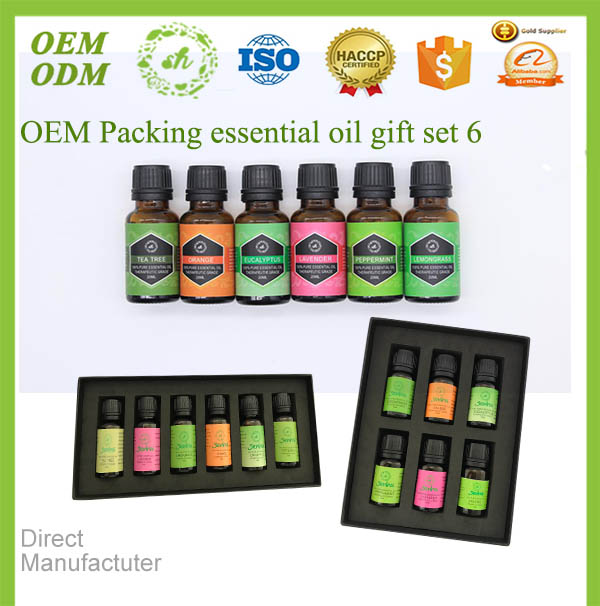 Private label box packaging 100% pure organic essential oil gift set with tea tree oil