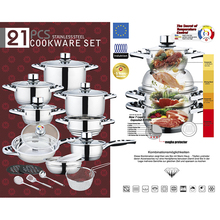 New Products Simple Style Stainless Steel 21pcs Cookware Set With Fry Pan