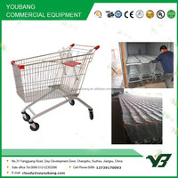 Hot sell galvanize and powder coating 80 liter euro style shopping trolley with coin lock