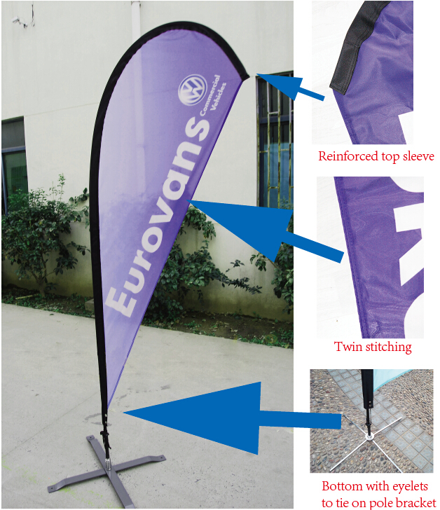 - Style 1 Single-Sided, Poles and Spike Base Included Ford 8ft Feather Banner