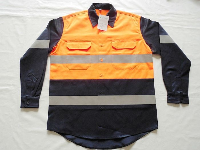 Custom mens 3M hi vis reflector safety long sleeve orange and navy work shirt