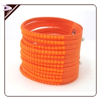 fashion charm neon color silicone bracelet European style multilayer chain jewelry wholesale