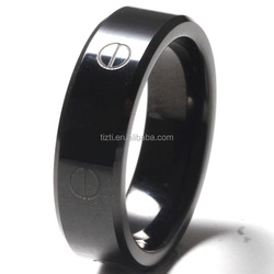 Hot selling brushed IP black plated tungsten rings
