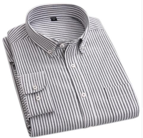 Autumn Oxford Men Business Casual Shirts Stripe Plaid Men Dress Shirts High Quality Cotton Long Sleeve Shirts