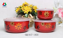 Red color three size bowl sets ceramic bowl with plastic lid for sale