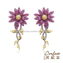 Purple Garnet 925 Sterling Silver Charm Clip on Women Earrings with Gold Plated