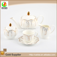 Leaf shape cups and pots nice good quality ceramic canister tea coffee sugar set