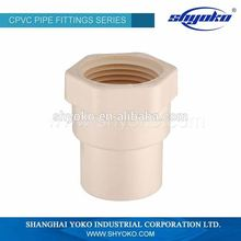 chinese supplier hot water copper thread plastic pipe fitting cpvc coupling with brass female