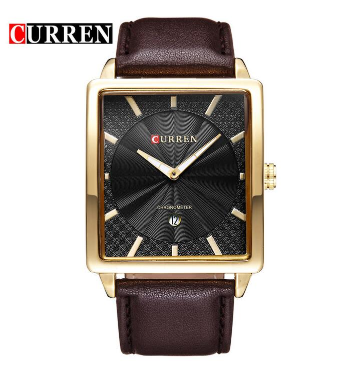 HOT Sell Top Brand Luxury Men Leather Wrist Watches Square Men Sports Curren Clocks Watch