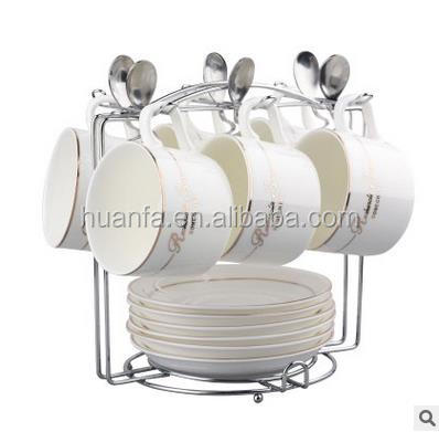 Hot sale for European ceramic cup set bone china coffee cup set with coffee cup holder