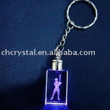 golf ball player laser engraved crystal key chain