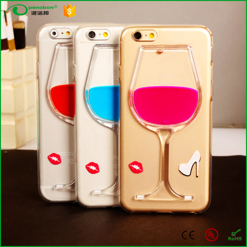 Factory Price Cheap Phone Cases Fashion 3D Red Wine Glass Cup Phone Case for iphone 6/6s for iphone 7 / 7 plus
