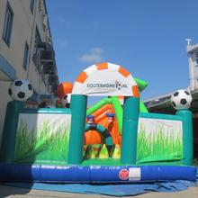 PVC material kids outdoor inflatable fun city giant inflatable bouncer castle soccer bouncer house for sale