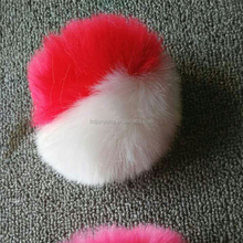 Cheap fake rabbit fur pom pon fur ball pendant two tone color faux fur ball