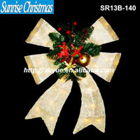 [2013 NEW]christmas bow decoration with lights /christmas white Sisal Bow With 35L Lights Home & Door Decor/ (MOQ:200PC)