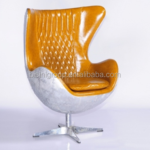 Post Modernism Egg Chair with Yellow Geniune Leather, Luxury Egg Shape Swivel Armchair for Living Room BF11-09142a