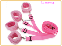 pink furry ankle hand cuffs bed bondage straps for sex city 2 game