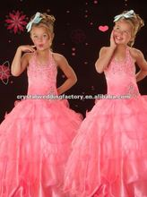 Hot sale halter beaded ruffled pink ball gown skirt custom-made pageant gown pink flower girl dresses CWFaf4241