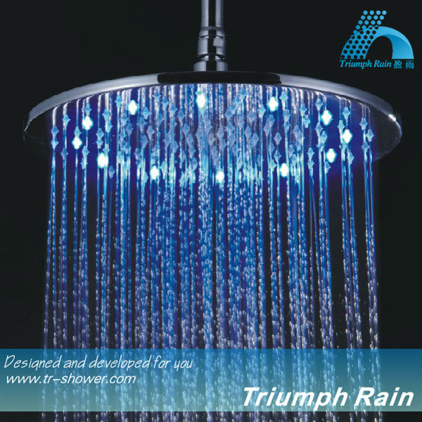 big round chrome plated brass round LED rain shower head