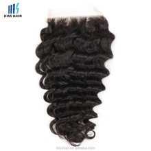 Wholesale Virgin Hair 4x4 Lace Closure Indian Deep Wave Human Hair Closure With Free Part