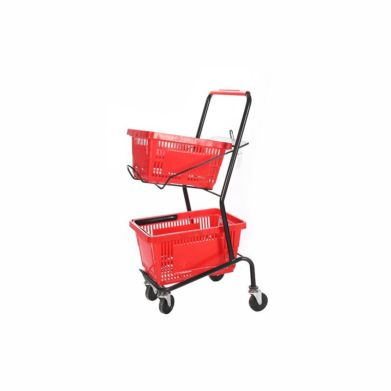 Wholesale Supermarket Double Basket Shopping Cart Trolley