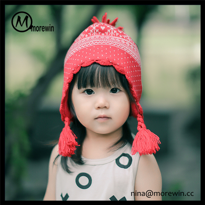 Morewin hats amazon hot sale custom winter knitted beanie hats caps with pompoms for kids crocheted hat