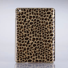 2016 New fashion leopard print genuine leather case flip cover for ipad air2, protective case