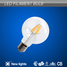 Opal/Transparent sphere G80 led filament bulb 6w 620-720lm 110V/220V CE ROHS approved