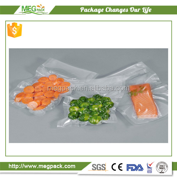 OEM custom made plastic frozen food packaging embossed vacuum storage pouch with high barrier