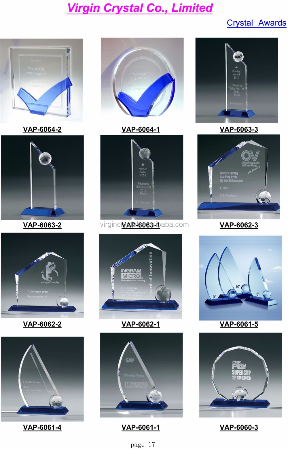 New business gift crystal trophy blue award plaque with clear base